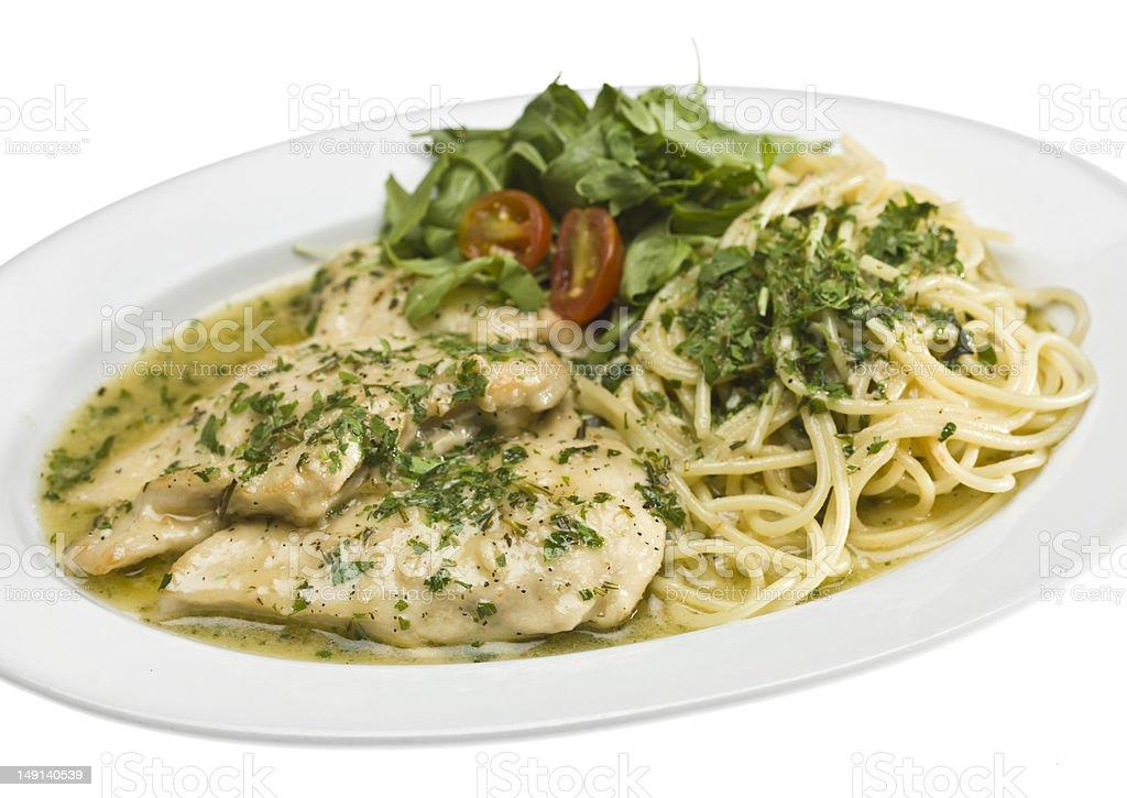 Sautee Chicken and Spaghetti stock photo
