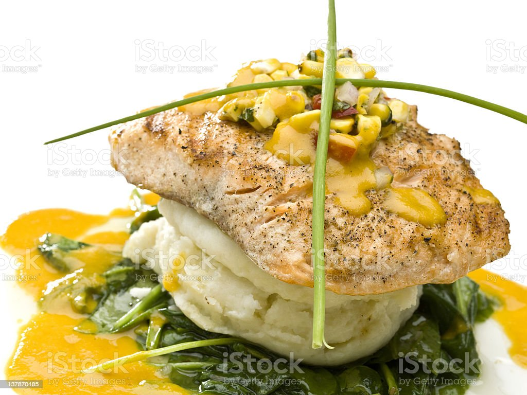 Sauteed fillet of Alaskan Wild Salmon royalty-free stock photo