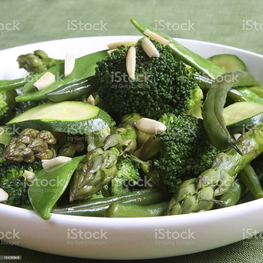 Sauteed Green Vegetables royalty-free stock photo