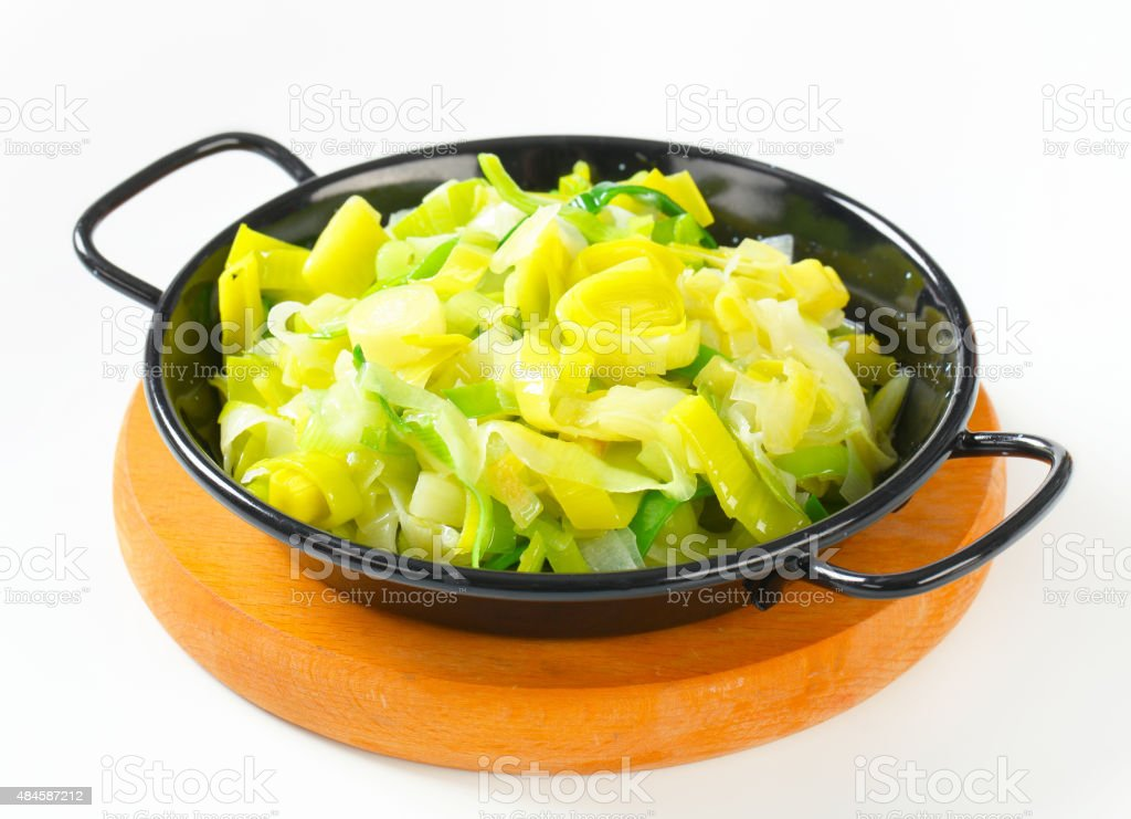 Sauteed leeks stock photo