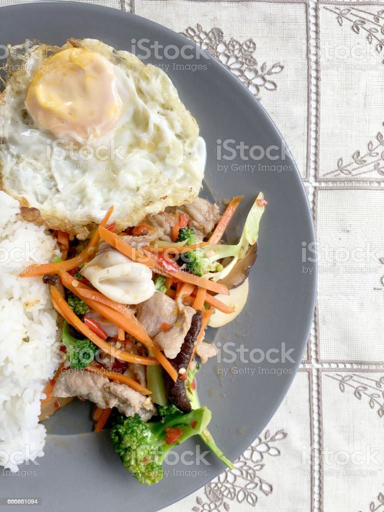 Sauteed mixed vegetables n oyster sauce stock photo