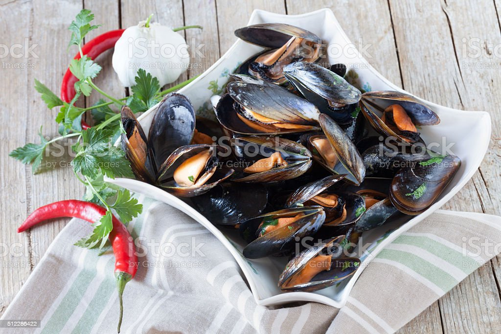 Sauteed Mussels stock photo