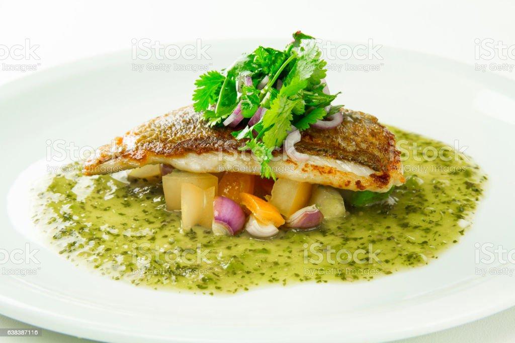 Sauteed Rockfish Fillet with Tomatillo Sauce stock photo