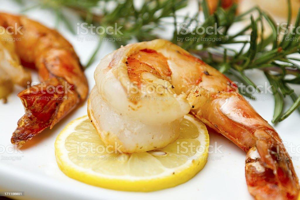 Sauteed Shrimp with Lemon and Rosemary royalty-free stock photo