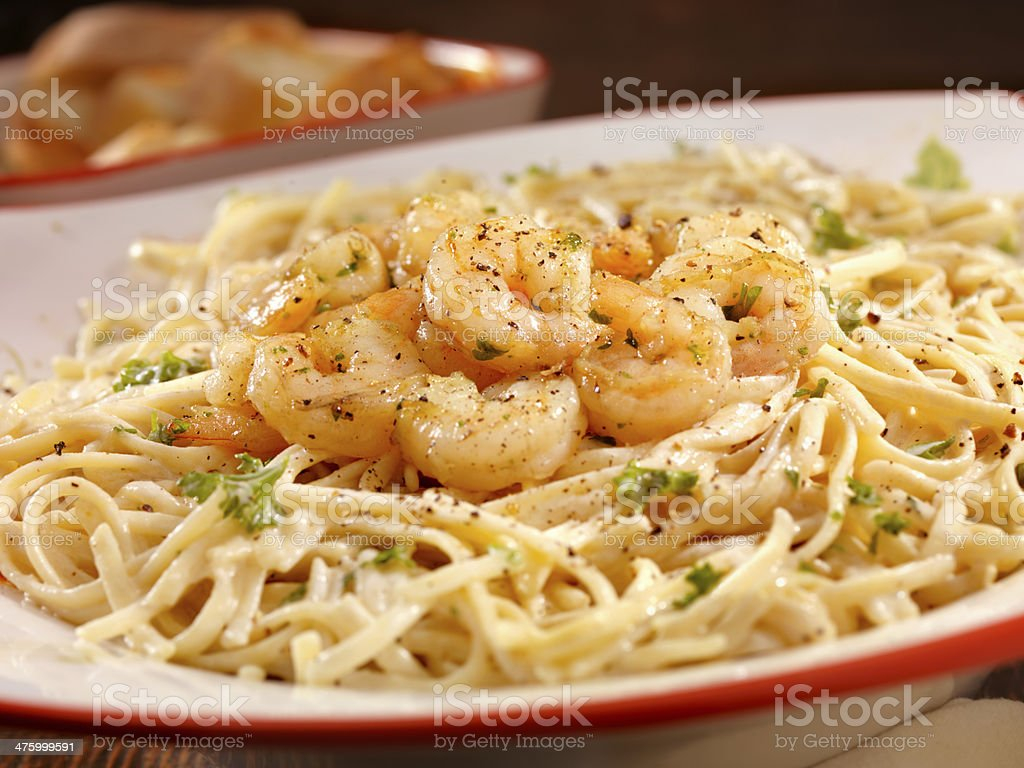 Sauteed Shrimp with Linguine stock photo
