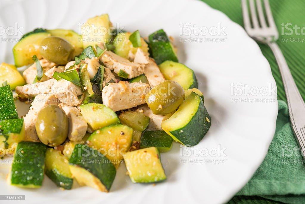 Sauteed Tofu and Zucchini with olives basil n gomashio royalty-free stock photo