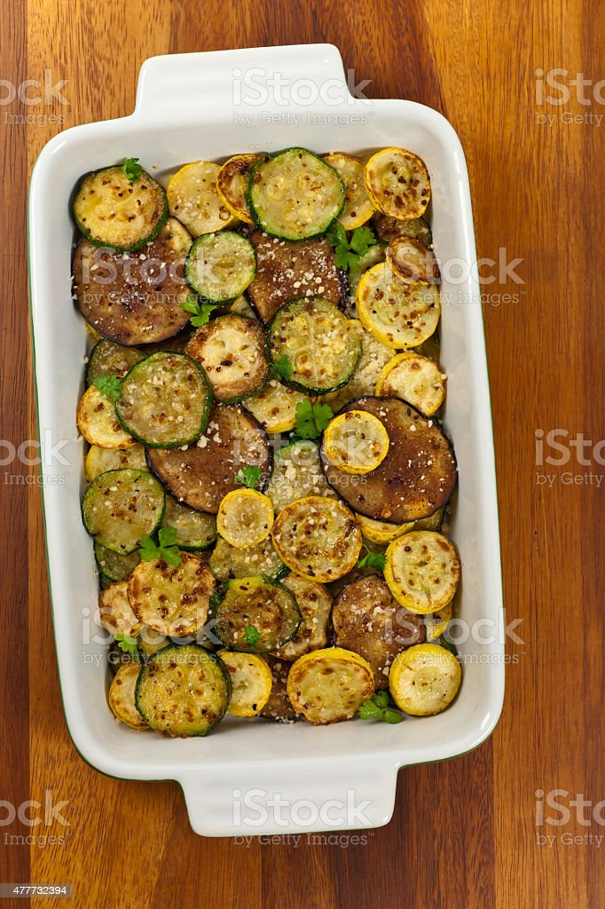Sauteed Vegetables With Parmesan Cheese stock photo