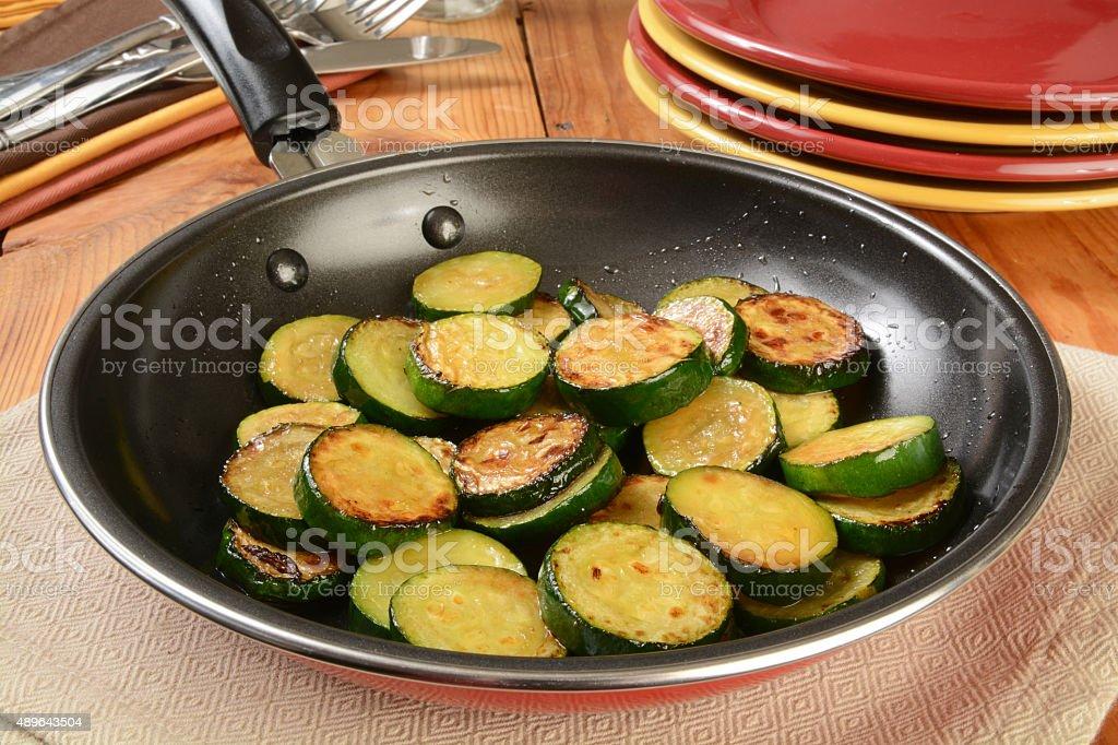 Sauteed zucchini stock photo