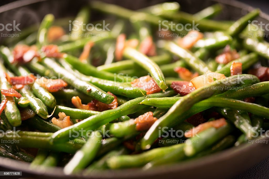 Sauteing Green Beans in a Pan stock photo