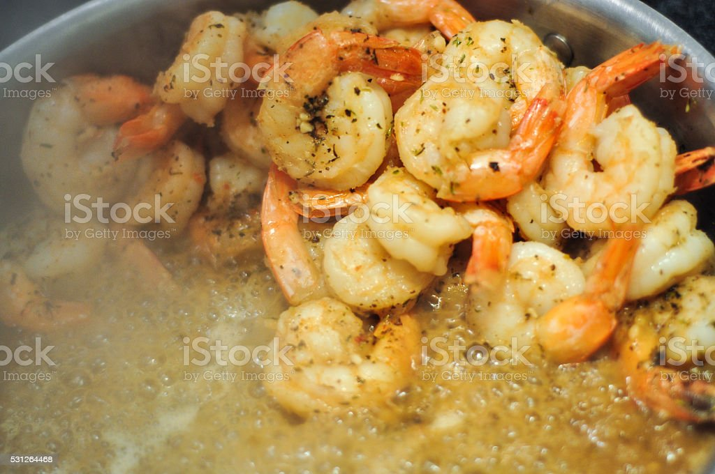 Sautéing Shrimp stock photo