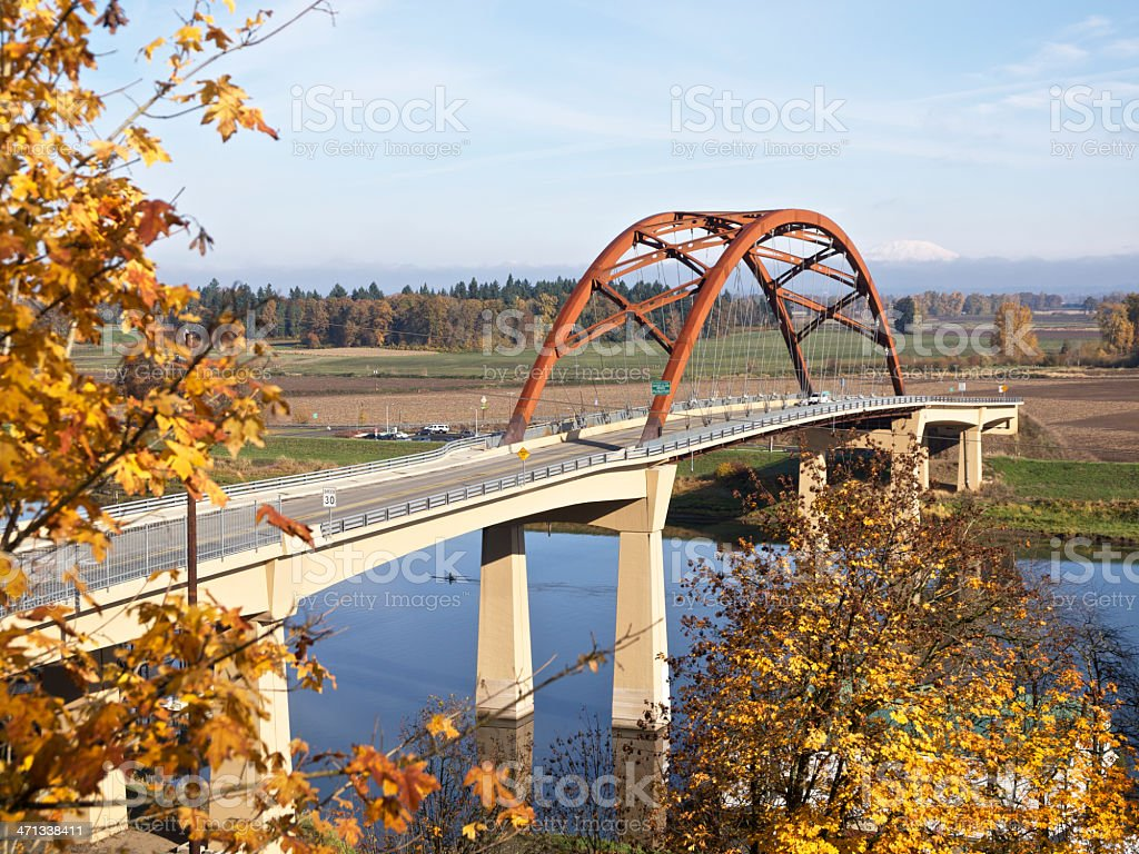 Sauvie Island Bridge Multnomah Channel near Portland Oregon Autumn color stock photo