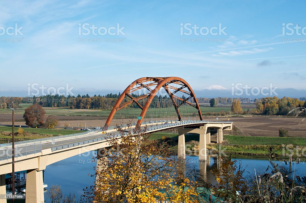 Sauvie Island Bridge Multnomah Channel near Portland Oregon stock photo