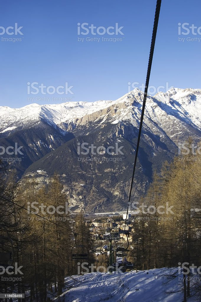 Sauze d'Oulx from the chair lift stock photo