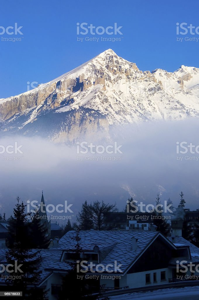 Sauze d'Oulx misty dawn stock photo