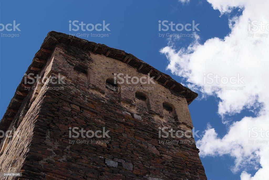 Savaneti Georgia Tower stock photo