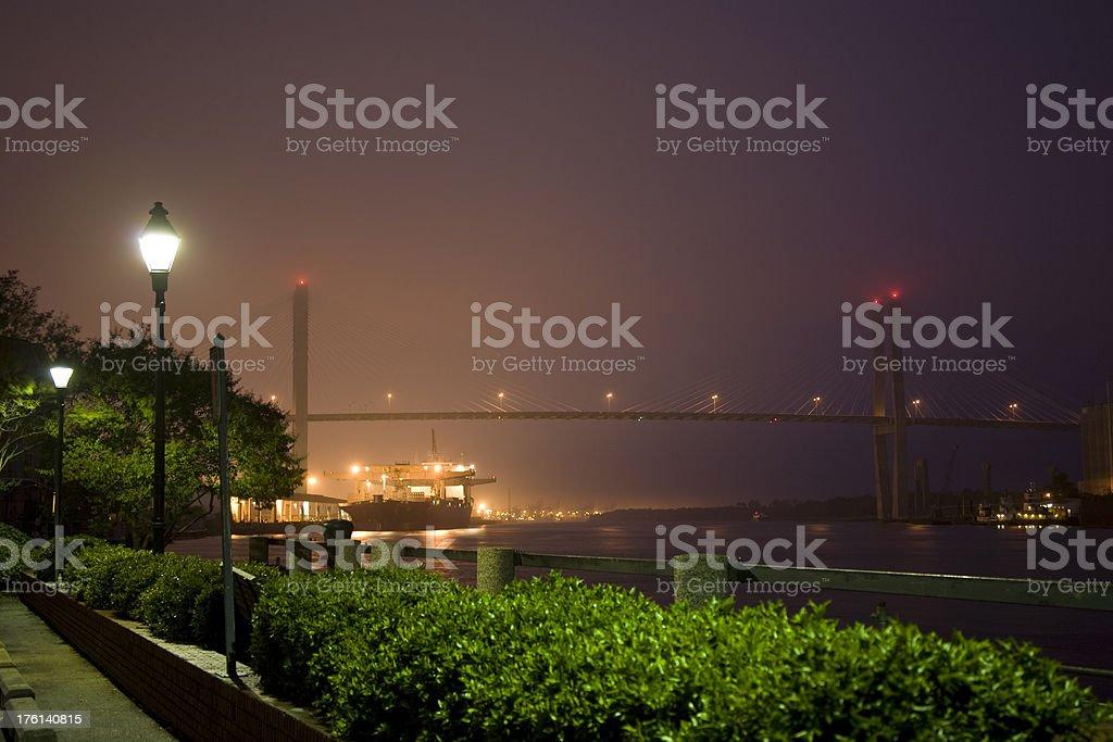 Savannah GA: Freighter and  Talmadge Bridge, Night royalty-free stock photo