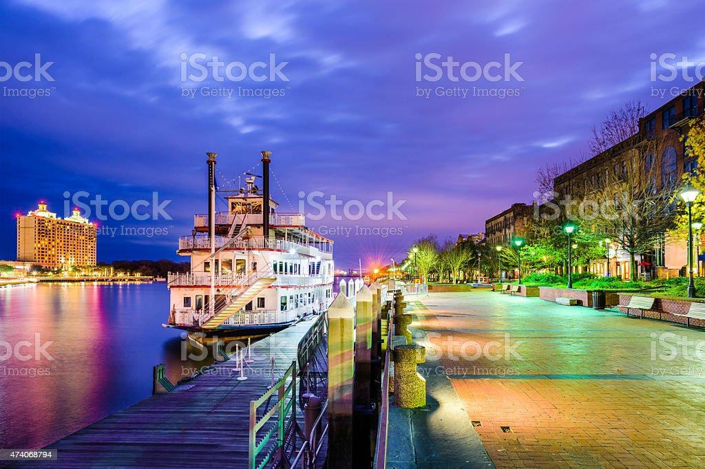Savannah, Geogia Riverfront Promenade stock photo