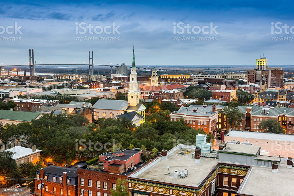 Savannah Georgia Cityscape stock photo