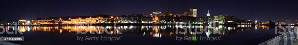Savannah Georgia River Street Night stock photo