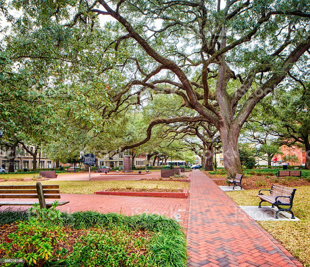 Savannah Georgia USA Town Square park stock photo