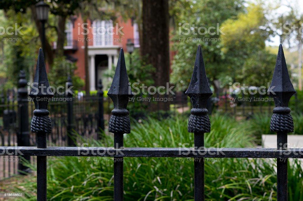 Savannah Iron Fence and Historic Home stock photo