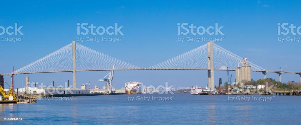 Savannah River and Bridge stock photo