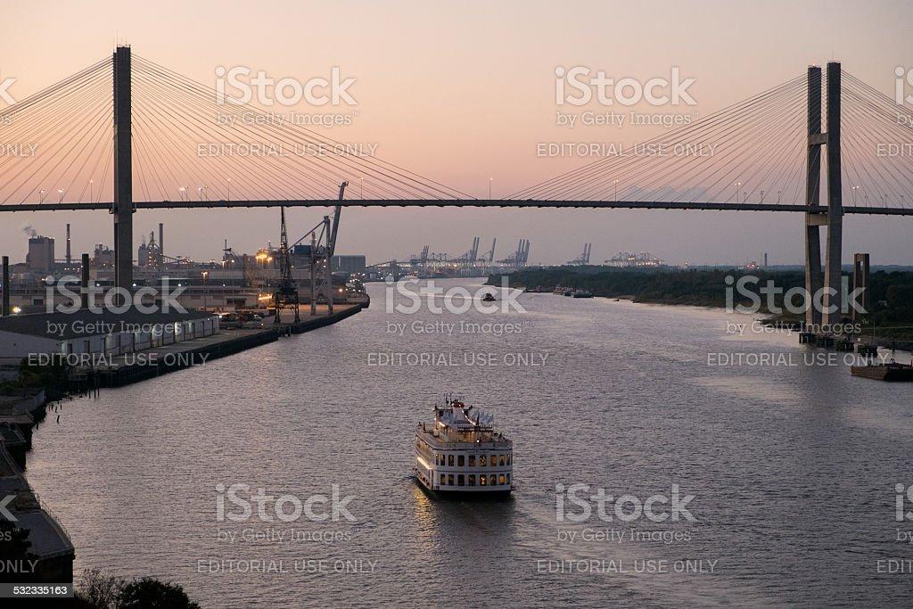 Savannah river at sunset stock photo