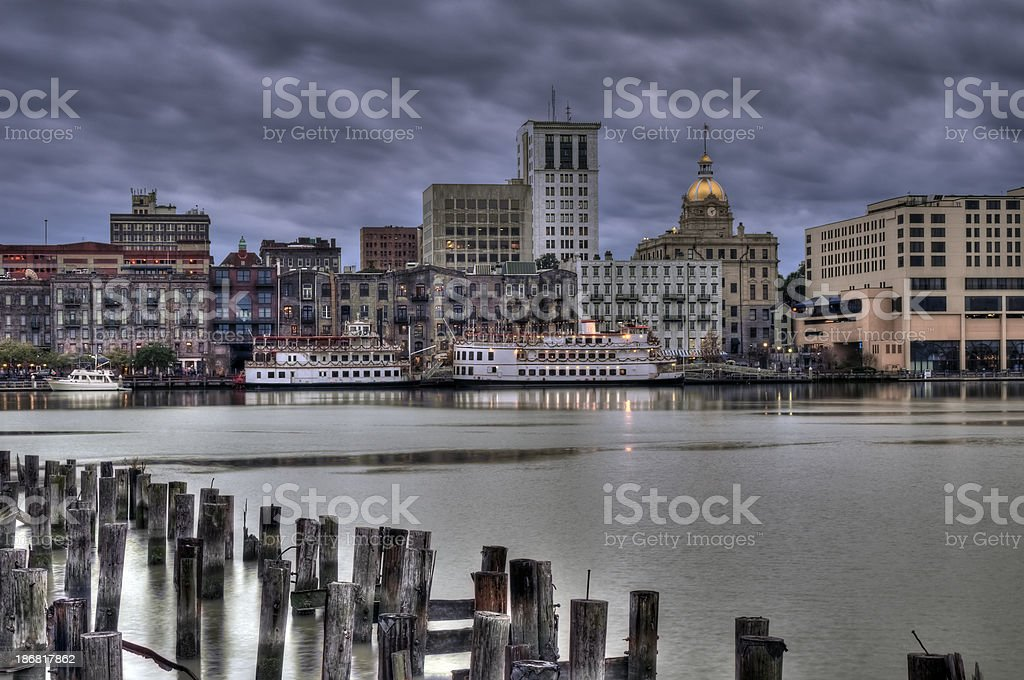 Savannah River Side at Night stock photo