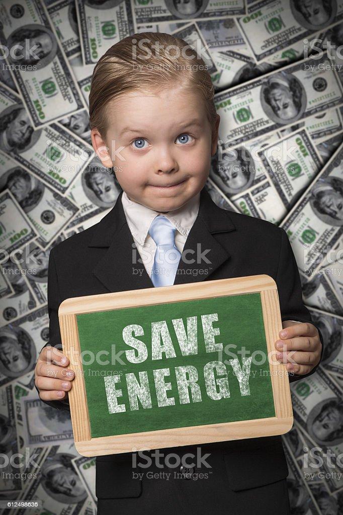 Save energy chalk board stock photo