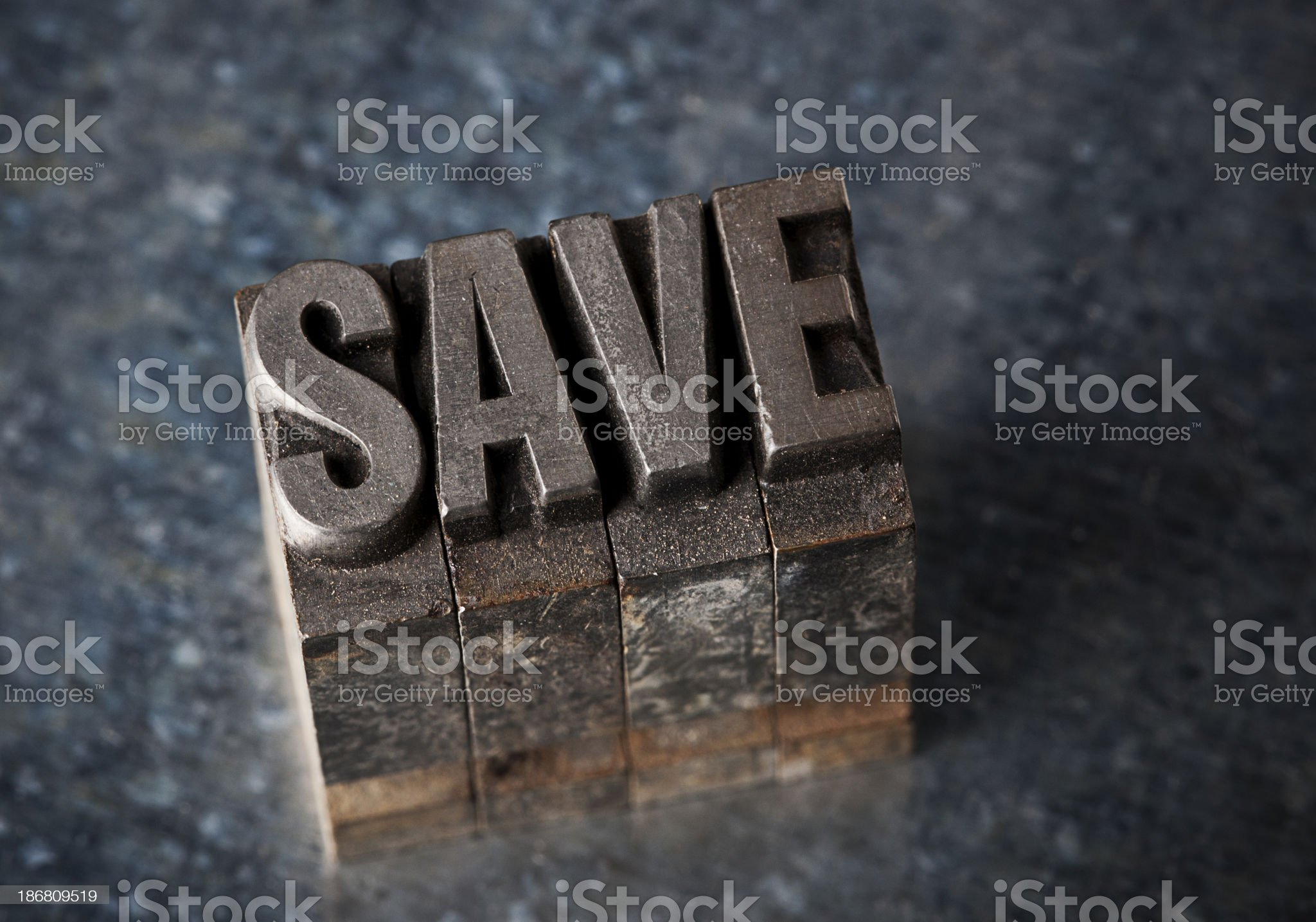 Save In Letterpress Type royalty-free stock photo