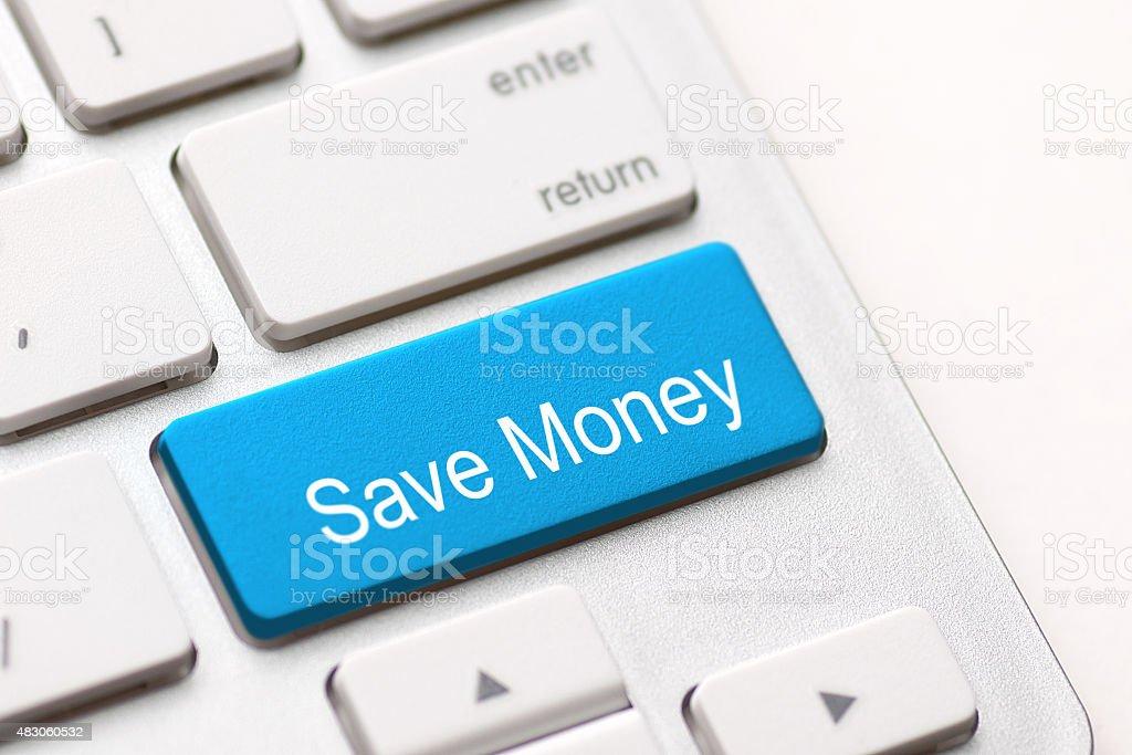 Save Money button key stock photo