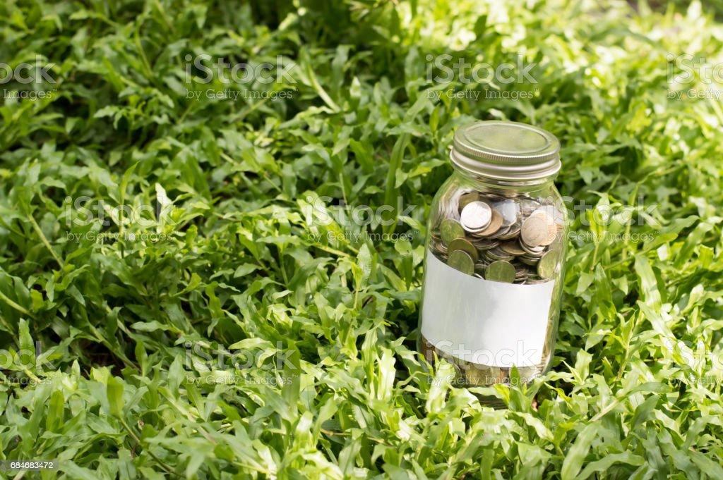 Save money in jar stock photo