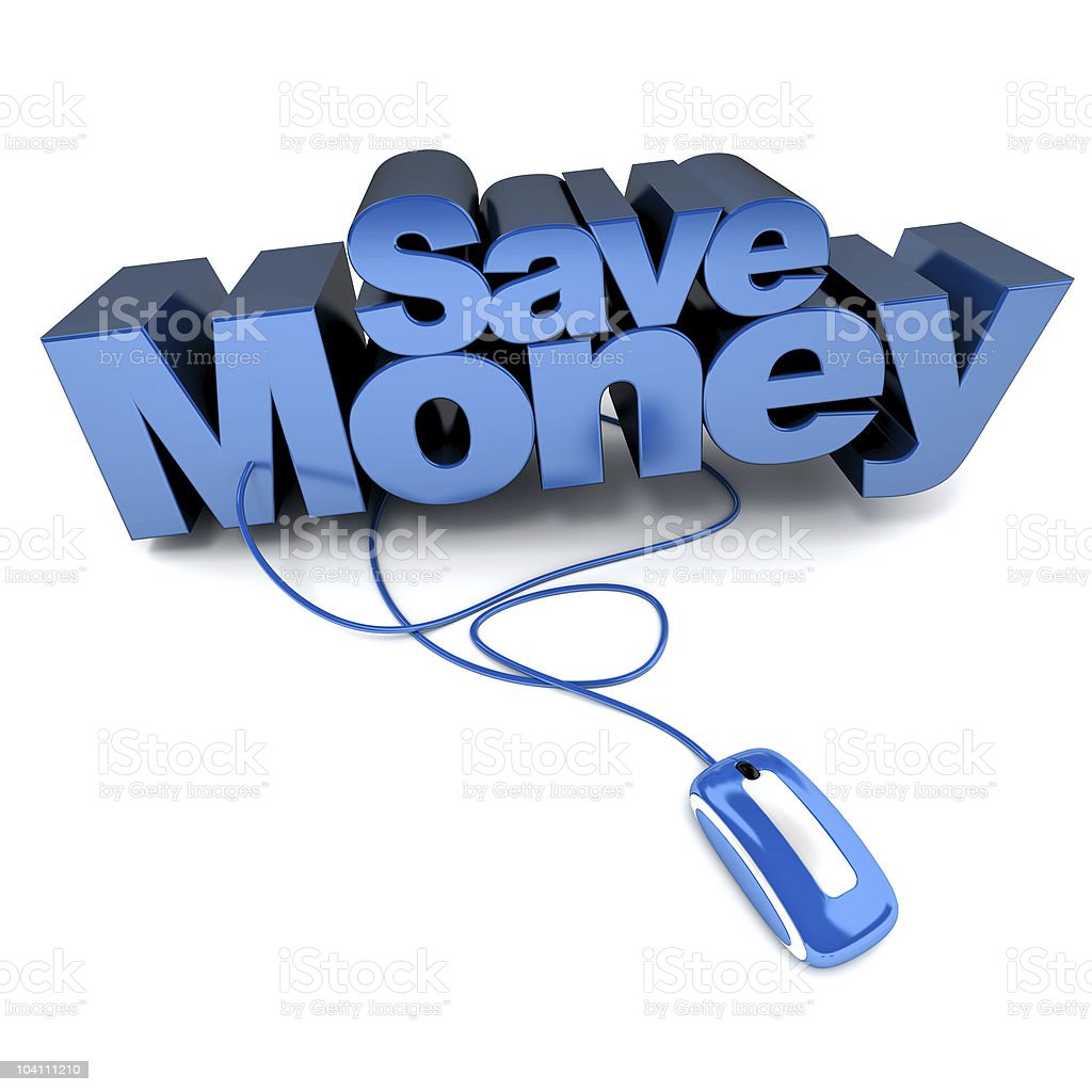 Save Money online in blue stock photo