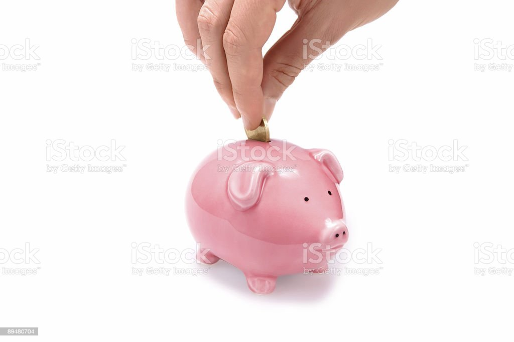 Save money with piggy bank! stock photo