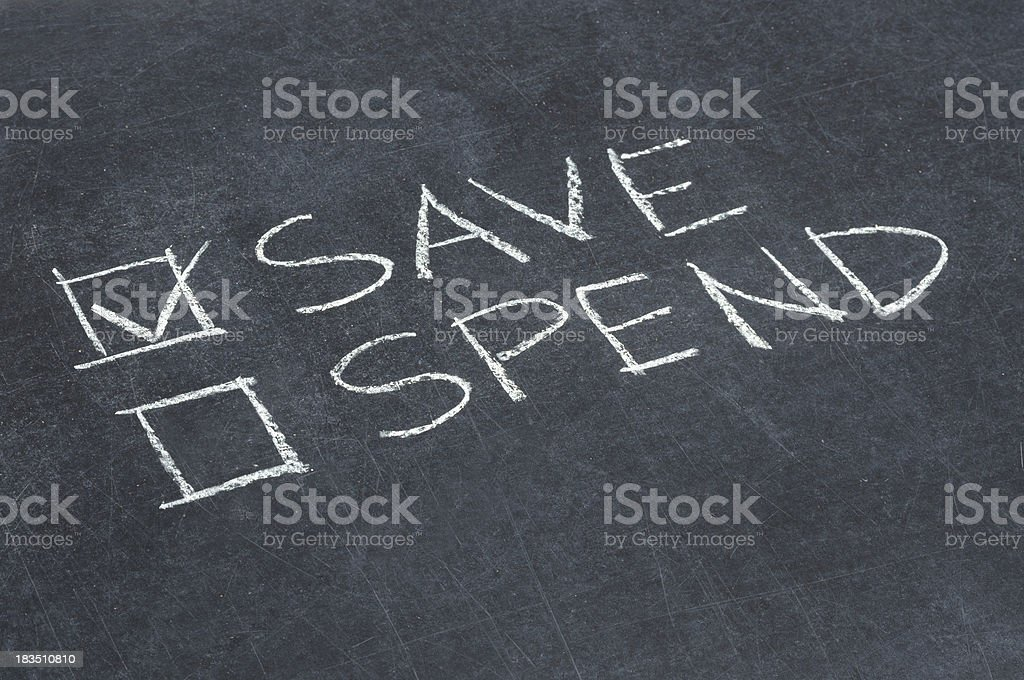 Save or Spend Checkbox royalty-free stock photo