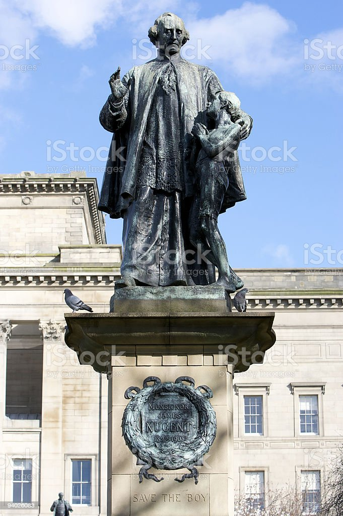 Save The Boy - Statue of Father James Nugent, Liverpool stock photo