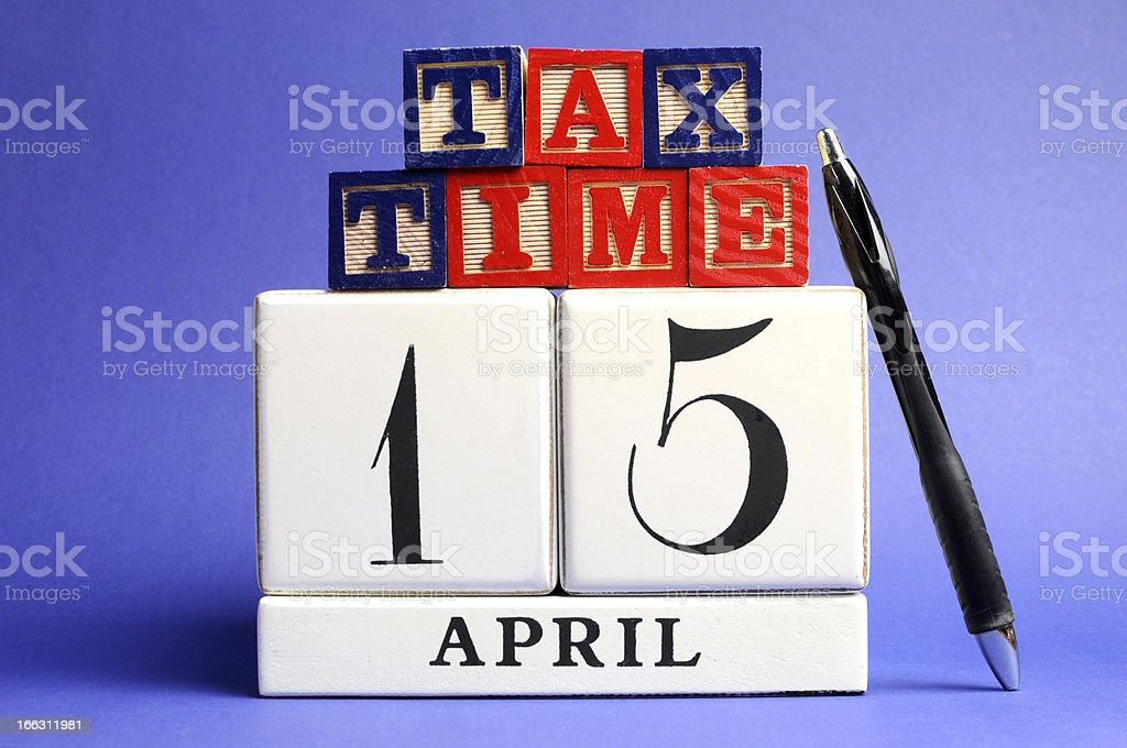 Save the Date, April 15, for USA Tax Day royalty-free stock photo