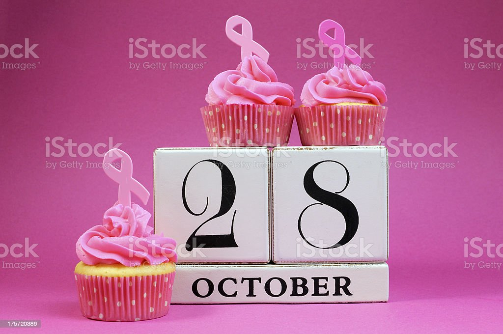 Save the Date calendar for 28 October, Pink Ribbon charity royalty-free stock photo