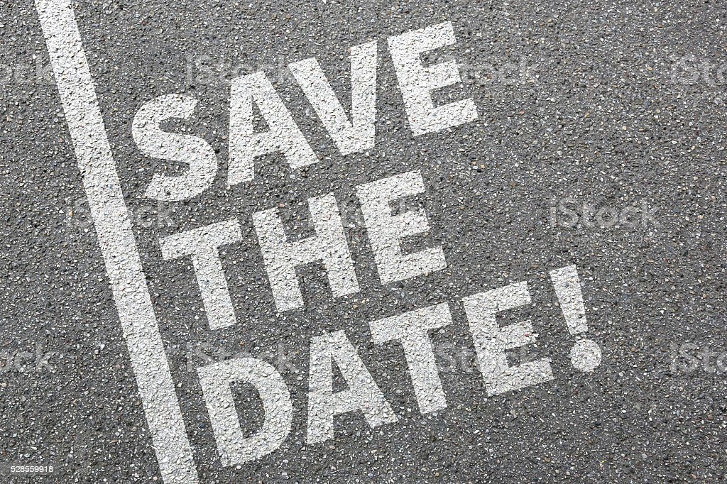 Save the date invitation message information business concept stock photo