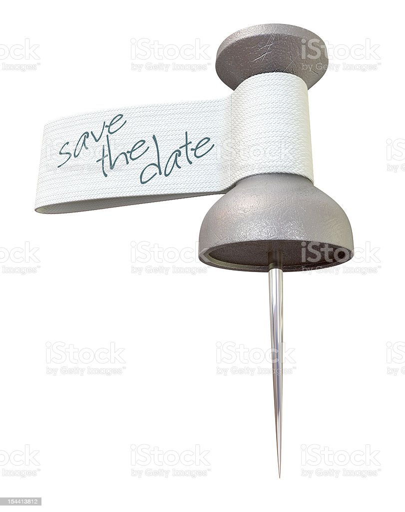 Save The Date Metal Thumbtack stock photo