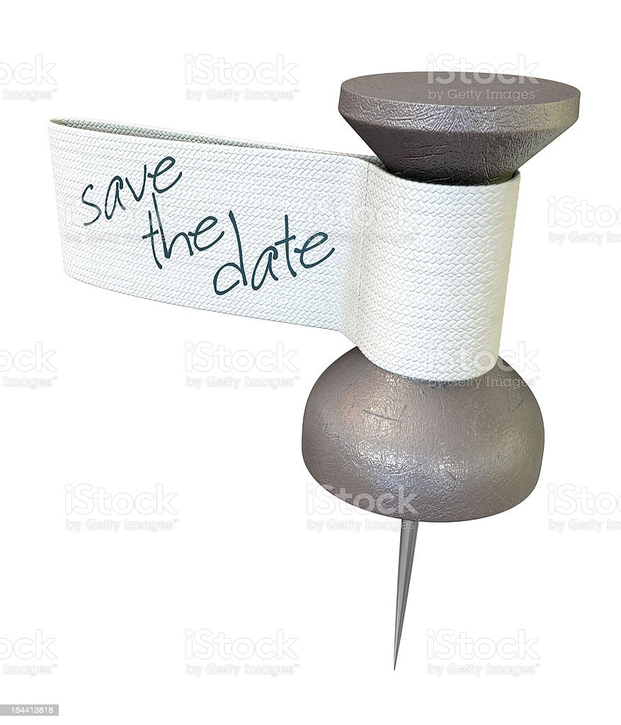 Save The Date Mteal Thumbtack stock photo