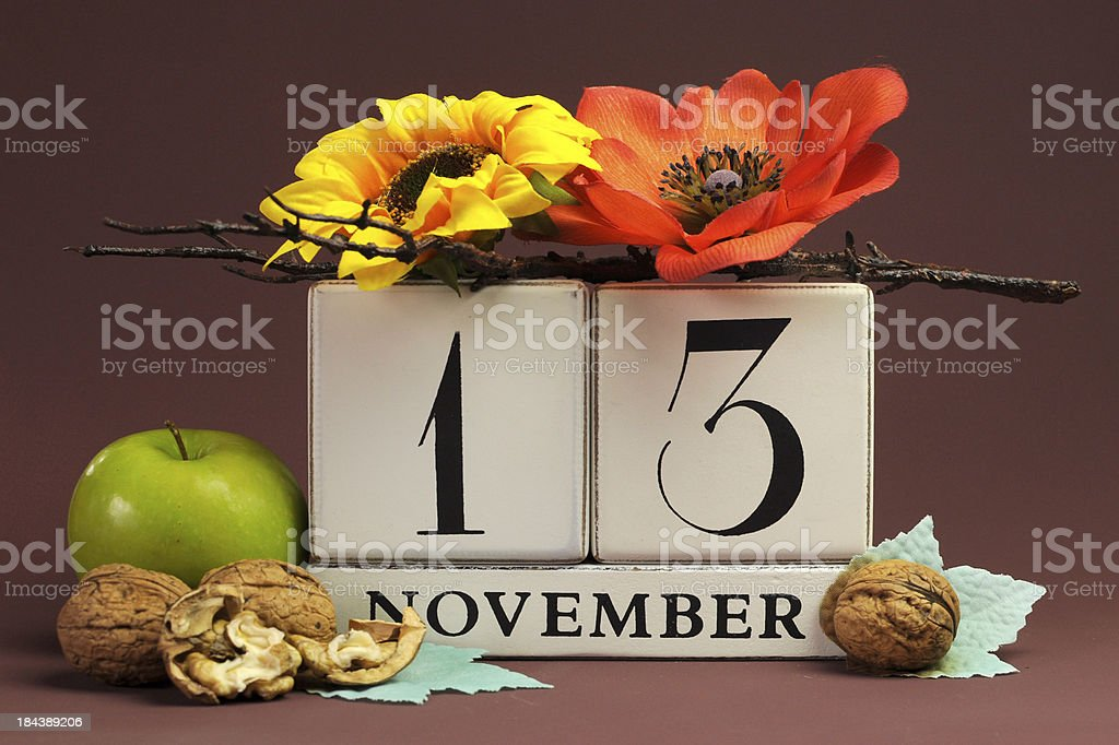 Save the Date seasonal individual calendar for November 13 royalty-free stock photo