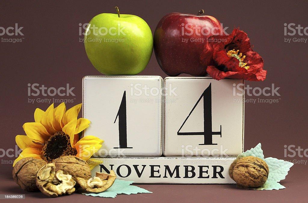 Save the Date seasonal individual calendar for November 14 royalty-free stock photo
