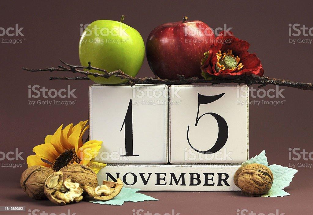 Save the Date seasonal individual calendar for November 15 royalty-free stock photo