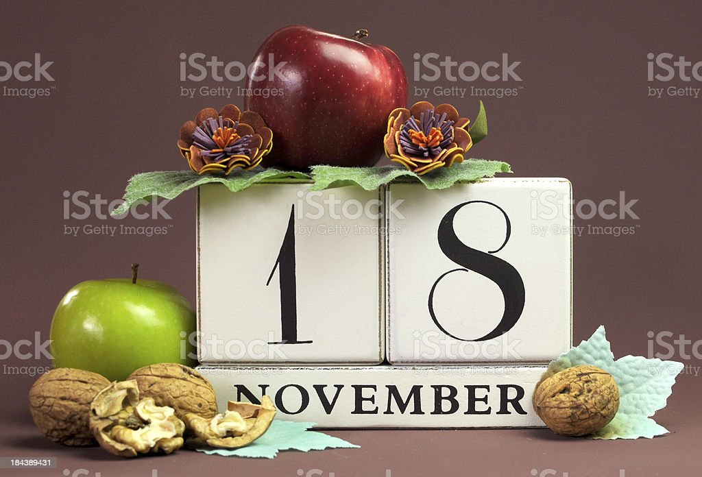 Save the Date seasonal individual calendar for November 18 royalty-free stock photo