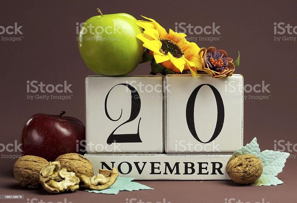 Save the Date seasonal individual calendar for November 20 royalty-free stock photo