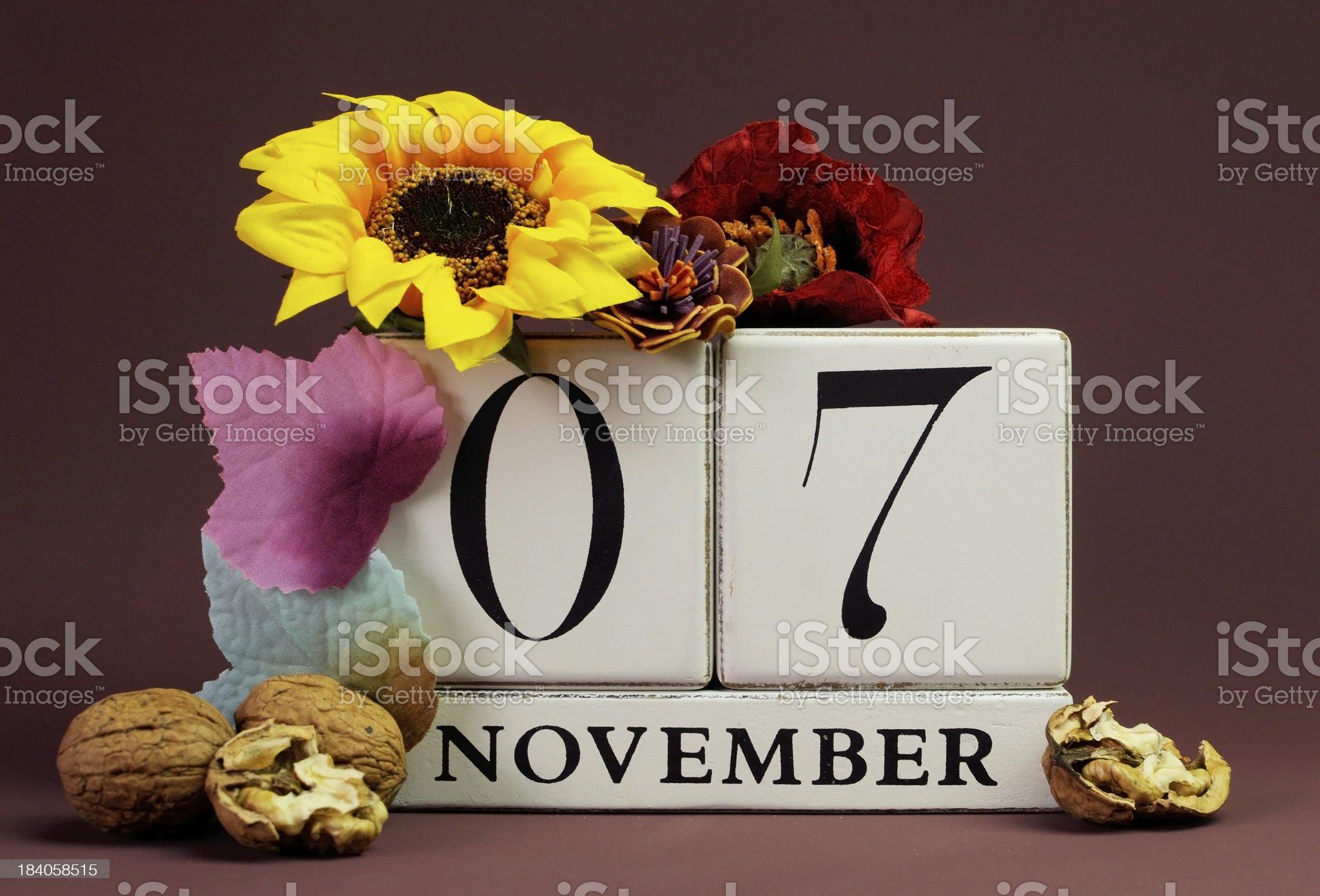 Save the Date seasonal individual calendar for November 7 royalty-free stock photo