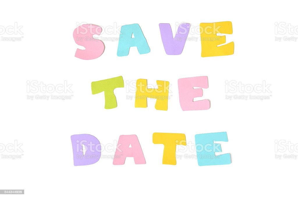 Save the date text on white background - isolated stock photo