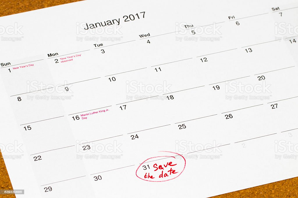 Save the Date written on a calendar - January 31 stock photo