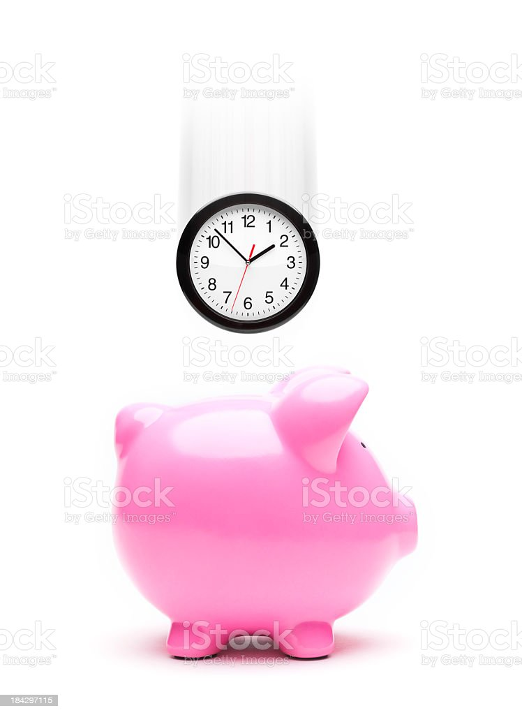 Save time concept with clock and piggy bank stock photo